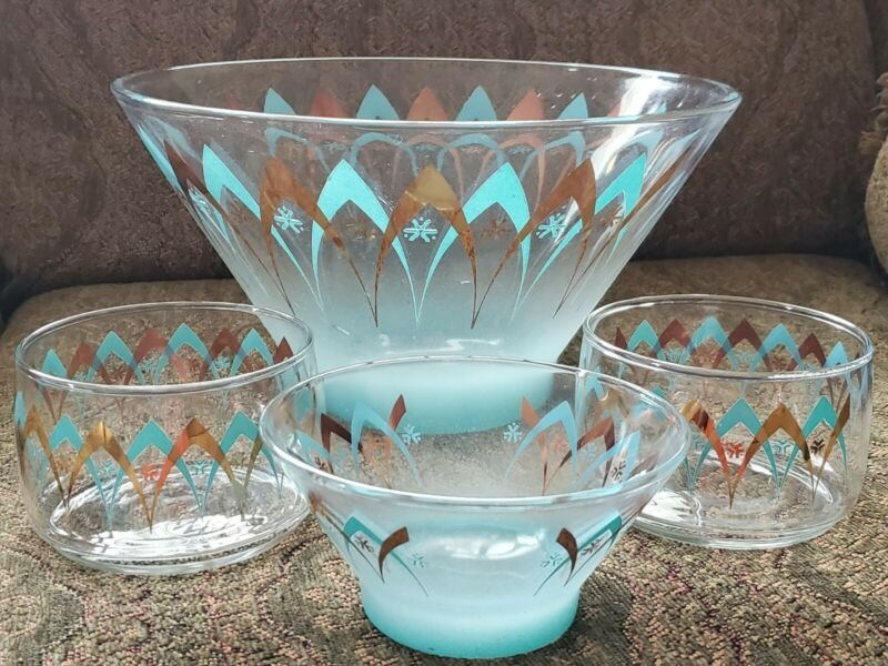 PYREX BLENDO ATOMIC BLUE GOLD CHIP & DIP BOWL SET 1950S
