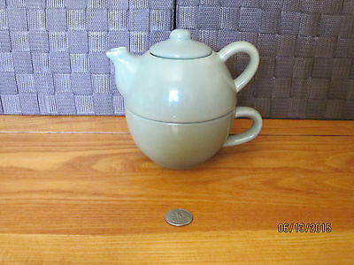 Teapot & cup stacking tea for one set green ceramic Pier 1