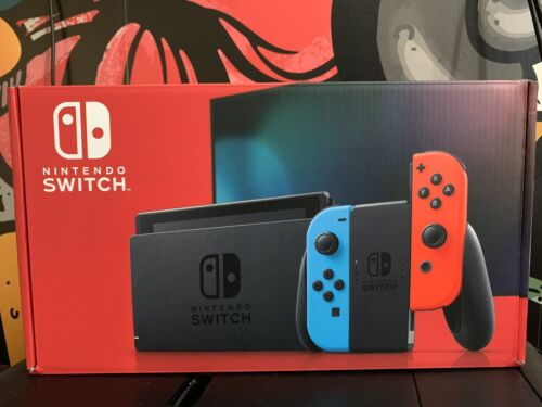 Nintendo Switch Console With Neon Red and Blue Joy Con  2 Da
