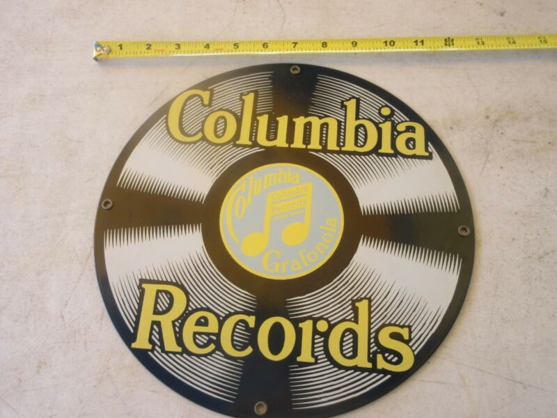 """COLUMBIA RECORDS ANDE ROONEY 11.5"""" PORCELAIN ENAMELED METAL SIGN"""