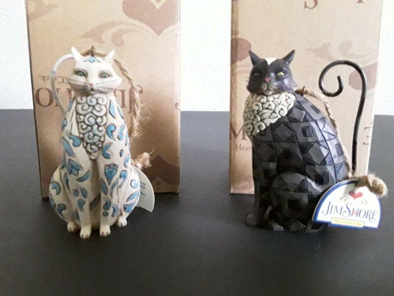 Jim Shore Heartwood Creek Cat Ornament  4014463 Black Cat 4014464 White Cat Pair