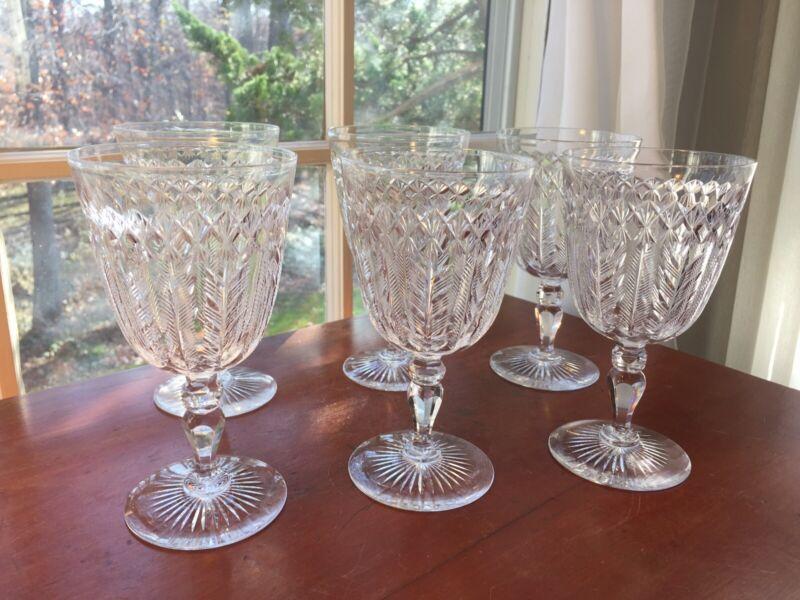 Val St Lambert  6 Antique Cut Crystal Fern Pattern Water Goblets  RARE