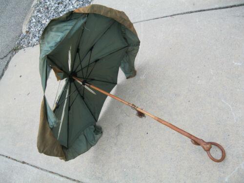 Antique Victorian Vintage Silk Ruffles Umbrella Bamboo Wood Handle