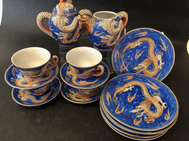 19 Piece Japanese Moriage Blue Dragonware With Gold Gilt Porcelain Tea Set
