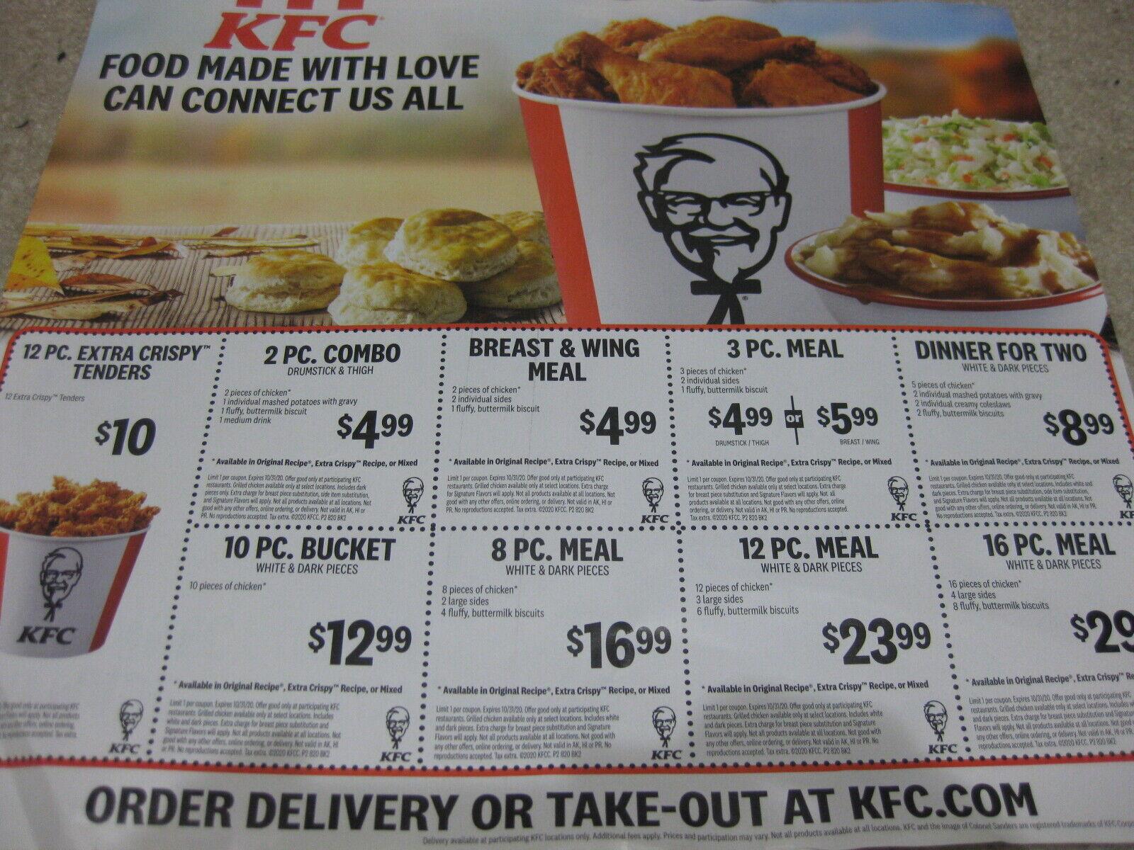 KFC Kentucky Fried Chicken Fast Food Coupons Savings Lot Save Money Off Bucket - $2.50