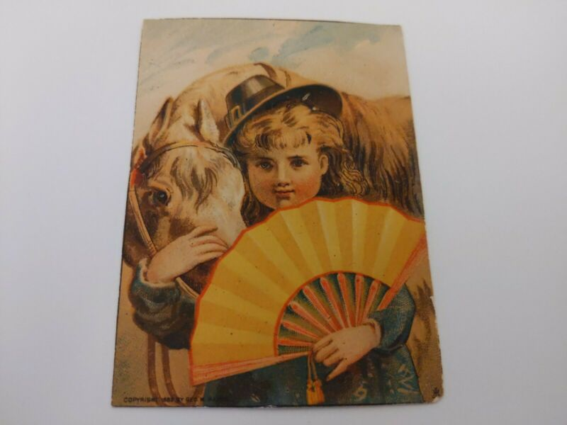 Girl With A Japanese Fan Snuggling Her Horse Victorian Trade Card 1880s