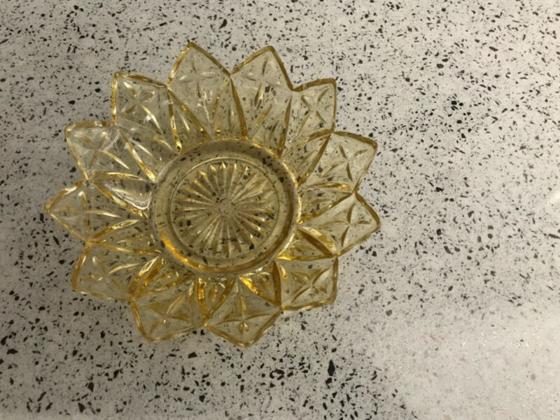 Vintage Amber Glass Bowl Scalloped Edge