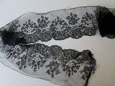 """Antique French Chantilly Wide Black Lace Trim/Edging. 47"""" x 4 1/2"""""""