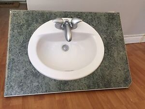 Sink, faucet and counter