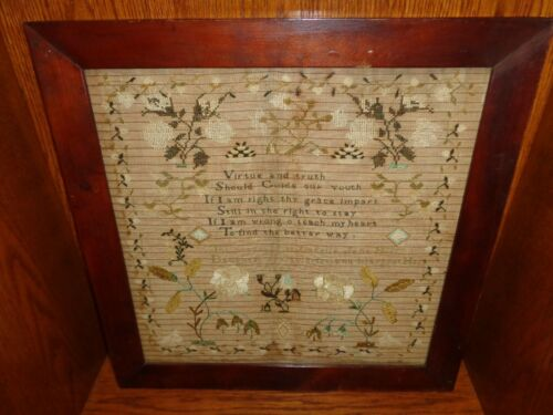 Antique 1843 Lancaster Pennsylvania Silk on Linen Needlework Verse Sampler
