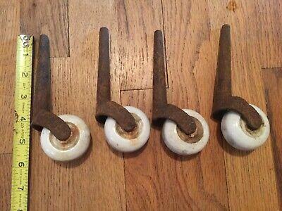Set of 4 Antique Vintage Industrial Porcelain Ceramic Castors Wheels Dirty Rusty