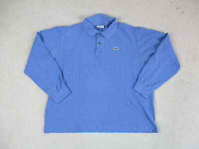 Lacoste Polo Shirt Adult Extra Large Size 7 Blue Long Sleeve Crocodile Rugby Men