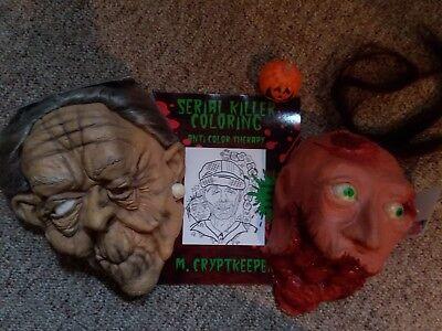 Gory Halloween Masks (LOT HALLOWEEN PROPS MASK BLOODY GORY ZOMBIE HEAD OLD HAG + BONUS SERIAL)
