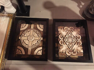 Decorative plaques in a frame