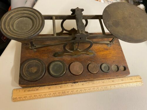 ANTIQUE VINTAGE S. MORDAN & CO. SCALE WITH 5 WEIGHTS BEAUTIFUL LOOK!