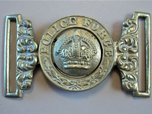 VINTAGE CANADIAN POLICE FORCE BRASS BELT BUCKLE circa: EARLY 1900