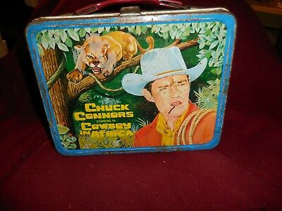 """Vintage 1968 Chuck Connors """"Cowboy in Africa"""" Lunch box W/Thermos"""