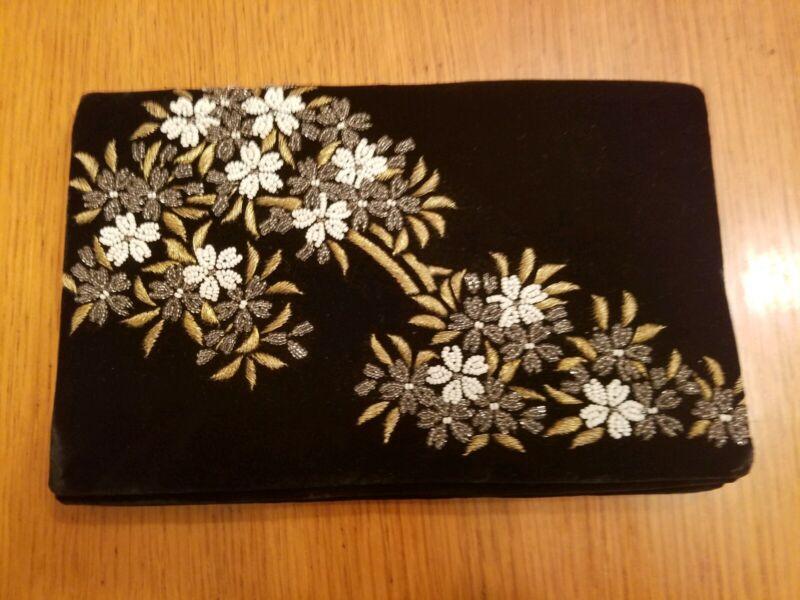 Vintage Fuji Bag Velvet Clutch Purse -Handmade