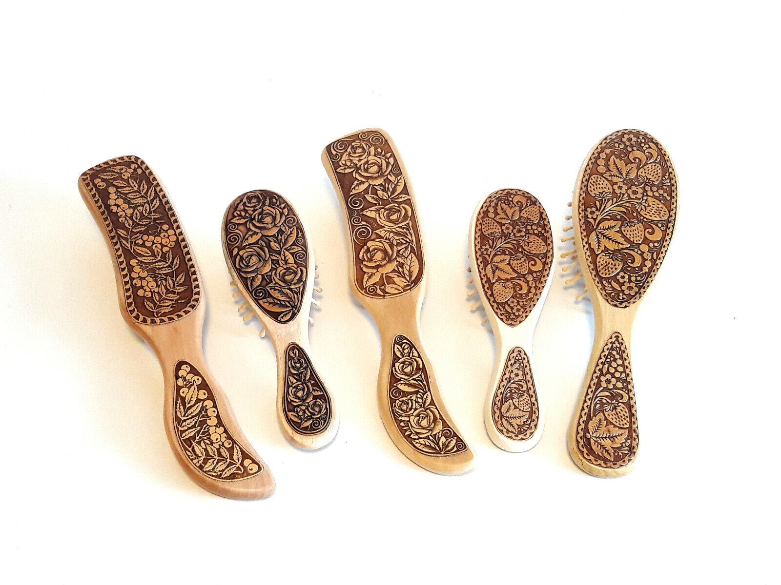 Birken Holz Haarbürste Kopfmassage Kamm Bürste Öko Organikprodukt Handmade