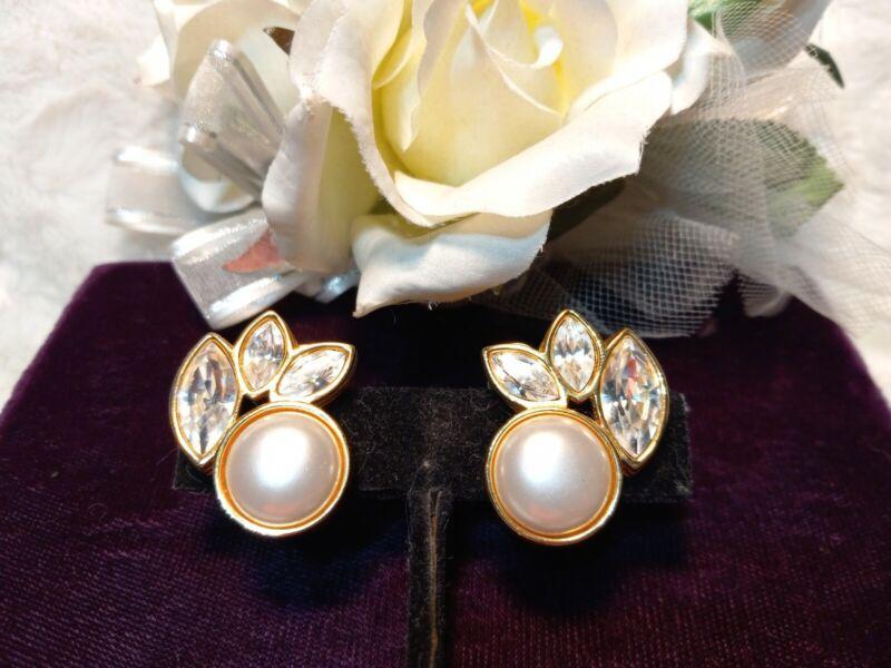 Vintage SAL Swarovski Signed Crystal & Cab Pearl Gold Statement Clip Earrings