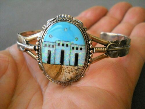 Southwestern Style Turquoise & Multi-Stone Sterling Silver Adobe House Bracelet