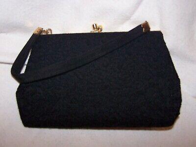 Vintage Black embossed Evening Bag with Gold trim & snap fastening.