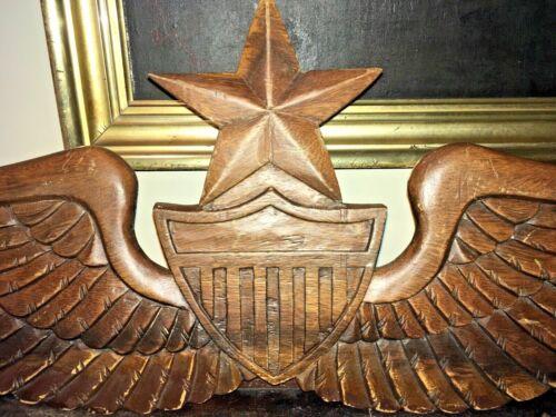 Vintage Folk Art Heraldic Eagle Wings Shield carved wood Americana Patriotic