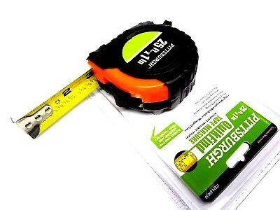 "25 Foot Tape Measure 1"" Slide 25' x 1"" Thumb Lock by Pittsburgh - Easy to Read"
