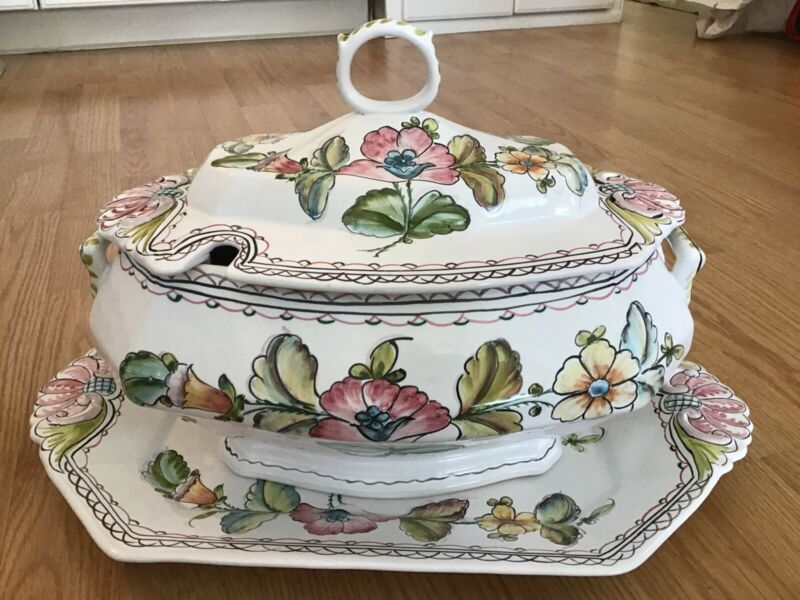 Large Hand Painted Soup Tureen Lid & under plate PORTUGAL Hand Signed By ArtIst
