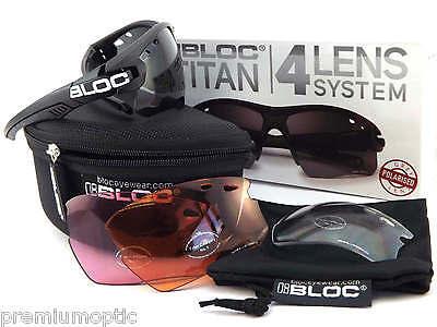 Bloc Austauschbar Titan Polarisiert Sport Sonnenbrille Schwarz / 4 Linse Box-Set