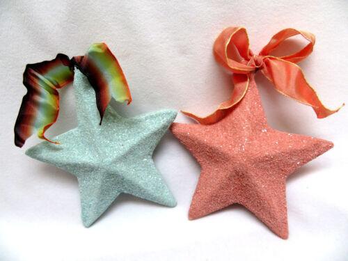 2 Vintage Paper Papier Mache Christmas Glitter Star Ornaments
