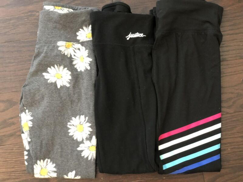 Justice Girls Leggings Size 12 Lot Of 3