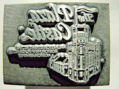 Vintage Letterpress Lead Printer Print Block The Plaza Castle - Boston