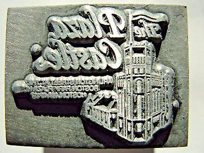 Vintage Letterpress Lead Printer Print Block The Plaza Castle - Boston