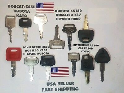 12 Heavy Equipment Key Set Hitachi John Deere Cat Volvo Kubota Bobcat