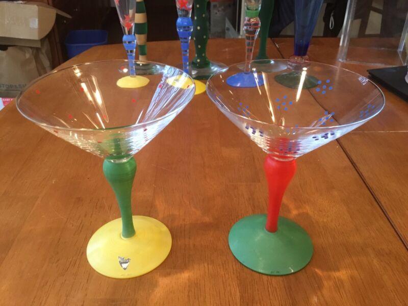 (2) TWO ORREFORS Sweden Anne Nilsson Clown Martini Glasses Retail $325+ each