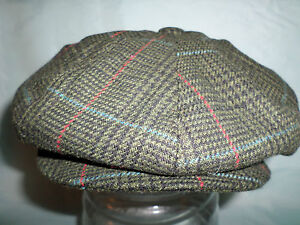 GREEN-CHECK-WOOL-1900-S-1920-S-1930-S-VICTORIAN-EDWARDIAN-PEAKY-BLINDERS-CAP