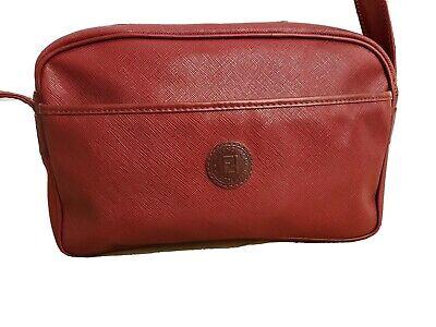 Beautiful Saffiano Leather Fendi Crossbody Bag Burgundy Gold Hardware Zipper EUC