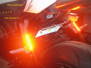 2x Mini Strip Black led motorcycle Turn signal cruiser chopper custom lights !