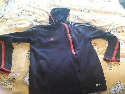Adidas black zip through hoody size med B4