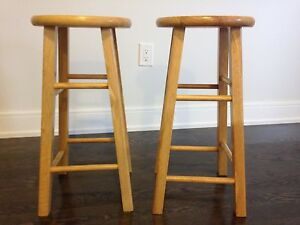 Two wood stools