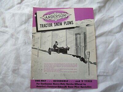 1959 Anderson Tractor Snow Plow Brochure