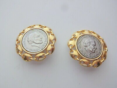 Vtg Paolo Gucci Gold Silver Coin Massive Chunky Clip On Earrings