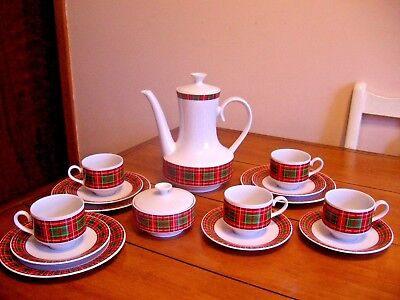 WINTERLING PLAID COFFEE & DESSERT SET - BAVARIA GERMANY - 17 pcs.