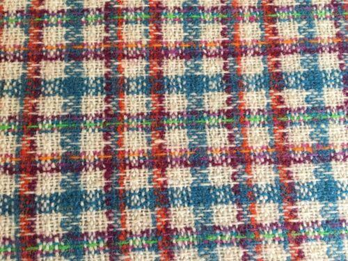 Vintage Wool Plaid Berkshire Fine Fabrics 3 Yds Turquoise Purple Green Orange