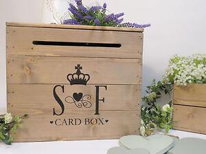 Personalised Rustic Wedding Wooden Card Box Post Box Vintage Wedding Card Box
