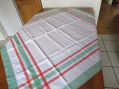 "Vintage Retro Tablecloth""Linen""Green&Red on white""App 49inch X48inch"".Fresh look"