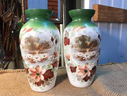 Pair of Antique Victorian English Hand Decorated Milk Glass Vases