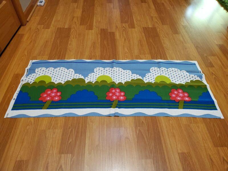 Awesome RARE Vintage Mid Century retro 70s Dekoplus tree hills sky cute fabric!