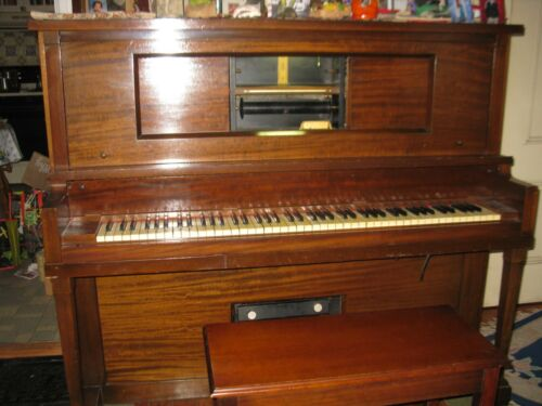 Upright Player Piano + Bench + Rolls